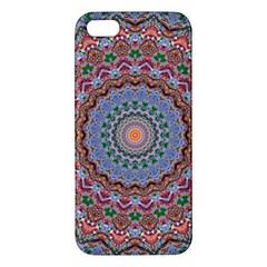 Abstract Painting Mandala Salmon Blue Green Iphone 5s/ Se Premium Hardshell Case by EDDArt