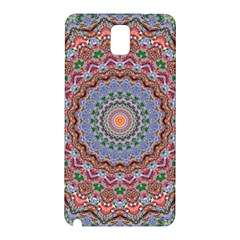 Abstract Painting Mandala Salmon Blue Green Samsung Galaxy Note 3 N9005 Hardshell Back Case by EDDArt