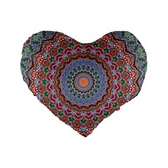 Abstract Painting Mandala Salmon Blue Green Standard 16  Premium Flano Heart Shape Cushions by EDDArt