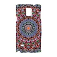 Abstract Painting Mandala Salmon Blue Green Samsung Galaxy Note 4 Hardshell Case by EDDArt