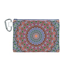 Abstract Painting Mandala Salmon Blue Green Canvas Cosmetic Bag (m) by EDDArt