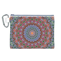 Abstract Painting Mandala Salmon Blue Green Canvas Cosmetic Bag (l) by EDDArt
