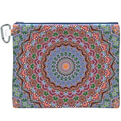 Abstract Painting Mandala Salmon Blue Green Canvas Cosmetic Bag (xxxl) by EDDArt