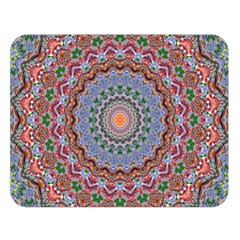 Abstract Painting Mandala Salmon Blue Green Double Sided Flano Blanket (large)  by EDDArt
