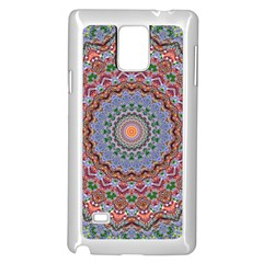 Abstract Painting Mandala Salmon Blue Green Samsung Galaxy Note 4 Case (white) by EDDArt
