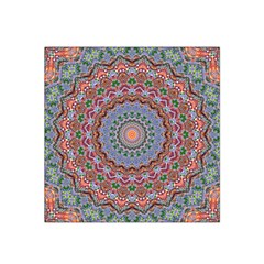 Abstract Painting Mandala Salmon Blue Green Satin Bandana Scarf by EDDArt