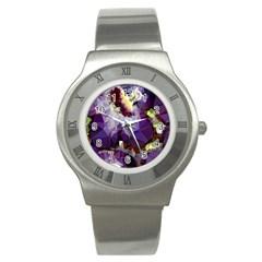 Purple Abstract Geometric Dream Stainless Steel Watch by DanaeStudio