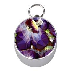 Purple Abstract Geometric Dream Mini Silver Compasses by DanaeStudio