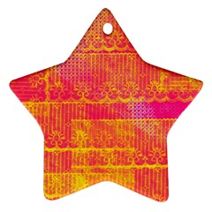 Yello And Magenta Lace Texture Ornament (star)  by DanaeStudio