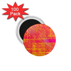 Yello And Magenta Lace Texture 1 75  Magnets (100 Pack)  by DanaeStudio