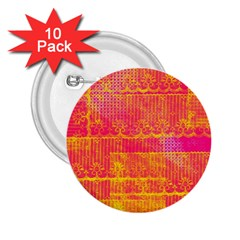 Yello And Magenta Lace Texture 2 25  Buttons (10 Pack)  by DanaeStudio