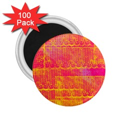 Yello And Magenta Lace Texture 2 25  Magnets (100 Pack)  by DanaeStudio