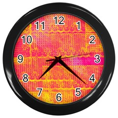 Yello And Magenta Lace Texture Wall Clocks (black) by DanaeStudio