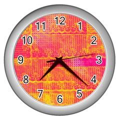 Yello And Magenta Lace Texture Wall Clocks (silver)  by DanaeStudio