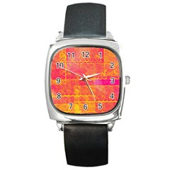 Yello And Magenta Lace Texture Square Metal Watch by DanaeStudio