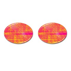 Yello And Magenta Lace Texture Cufflinks (oval) by DanaeStudio