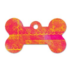 Yello And Magenta Lace Texture Dog Tag Bone (two Sides) by DanaeStudio
