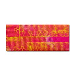 Yello And Magenta Lace Texture Hand Towel by DanaeStudio
