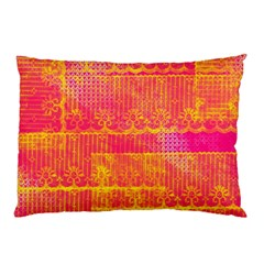 Yello And Magenta Lace Texture Pillow Case by DanaeStudio