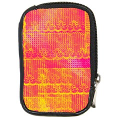 Yello And Magenta Lace Texture Compact Camera Cases by DanaeStudio