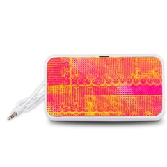 Yello And Magenta Lace Texture Portable Speaker (white)  by DanaeStudio