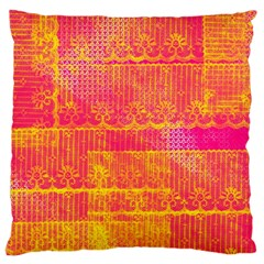 Yello And Magenta Lace Texture Large Cushion Case (two Sides) by DanaeStudio