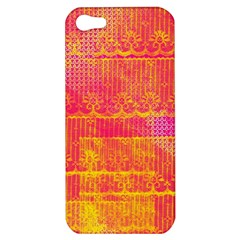 Yello And Magenta Lace Texture Apple Iphone 5 Hardshell Case by DanaeStudio