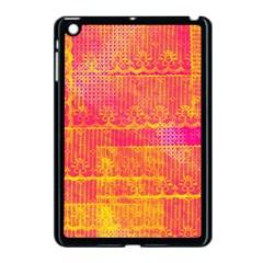 Yello And Magenta Lace Texture Apple Ipad Mini Case (black) by DanaeStudio