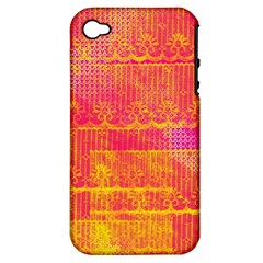Yello And Magenta Lace Texture Apple Iphone 4/4s Hardshell Case (pc+silicone) by DanaeStudio