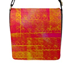 Yello And Magenta Lace Texture Flap Messenger Bag (l)  by DanaeStudio