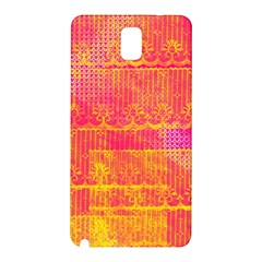Yello And Magenta Lace Texture Samsung Galaxy Note 3 N9005 Hardshell Back Case by DanaeStudio