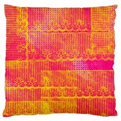 Yello And Magenta Lace Texture Large Flano Cushion Case (two Sides) by DanaeStudio
