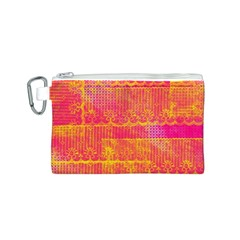 Yello And Magenta Lace Texture Canvas Cosmetic Bag (s) by DanaeStudio