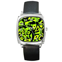 Green Neon Abstraction Square Metal Watch by Valentinaart