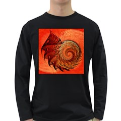 Nautilus Shell Abstract Fractal Long Sleeve Dark T Shirts by designworld65