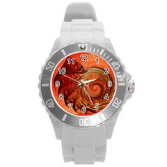 Nautilus Shell Abstract Fractal Round Plastic Sport Watch (l) by designworld65