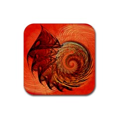Nautilus Shell Abstract Fractal Rubber Coaster (square)  by designworld65