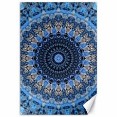 Feel Blue Mandala Canvas 12  X 18   by designworld65