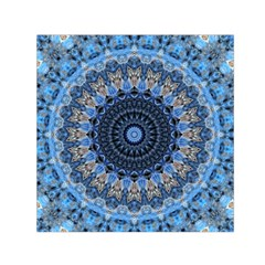 Feel Blue Mandala Small Satin Scarf (square) by designworld65