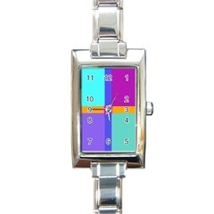 Right Angle Squares Stripes Cross Colored Rectangle Italian Charm Watch by EDDArt