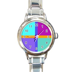 Right Angle Squares Stripes Cross Colored Round Italian Charm Watch by EDDArt