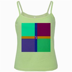 Right Angle Squares Stripes Cross Colored Green Spaghetti Tank by EDDArt
