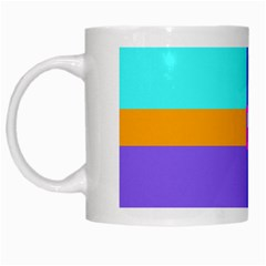 Right Angle Squares Stripes Cross Colored White Mugs by EDDArt