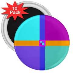 Right Angle Squares Stripes Cross Colored 3  Magnets (10 Pack)  by EDDArt
