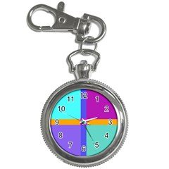 Right Angle Squares Stripes Cross Colored Key Chain Watches by EDDArt
