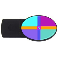 Right Angle Squares Stripes Cross Colored Usb Flash Drive Oval (2 Gb)  by EDDArt