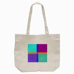 Right Angle Squares Stripes Cross Colored Tote Bag (cream) by EDDArt