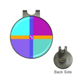Right Angle Squares Stripes Cross Colored Hat Clips With Golf Markers by EDDArt