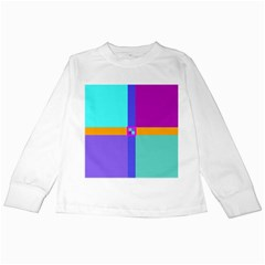 Right Angle Squares Stripes Cross Colored Kids Long Sleeve T Shirts by EDDArt