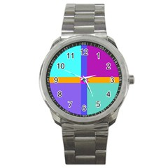 Right Angle Squares Stripes Cross Colored Sport Metal Watch by EDDArt